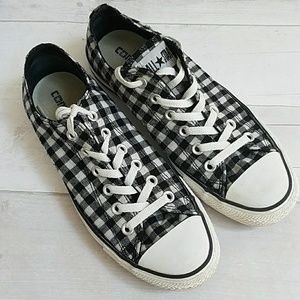 White Checkered Converse All Stars Sz
